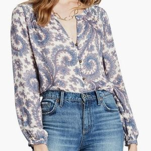 Lucky Brand Paisley Button Front Blouse